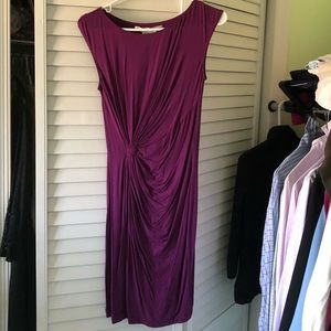 Purple knot-front dress